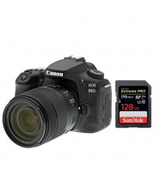 Canon 90D Digital SLR Camera with 18-135 IS USM Lens – Black with SanDisk SDSDXXY-128