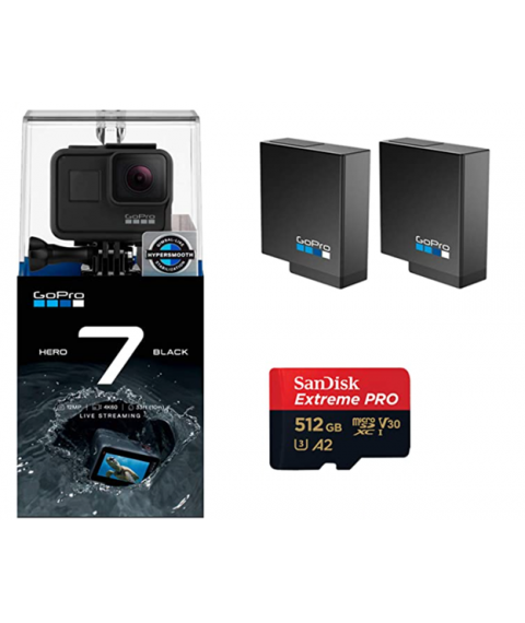 GoPro Hero 7 Black Edition with Two Extra GoPro USA Batteries + SanDisk Extreme 512GB MicroSD